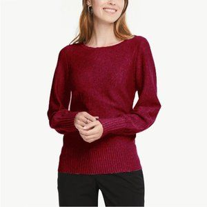 Ann Taylor Ribbed Blouson Sweater Maroon XL #4396